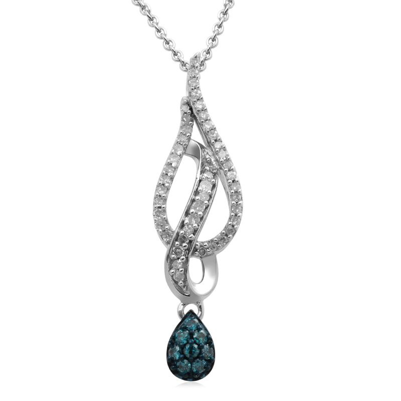 1/5 CT. T.W. Enhanced Blue and White Diamond Teardrop Pendant in Sterling Silver - View All Necklaces - Zales
