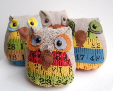 Linen owl pincushion by cathy   <3