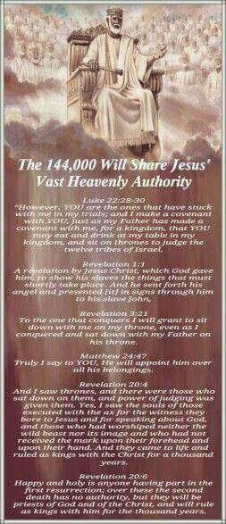 The 144,000 will share Jesus' vast heavenly authority  Everything