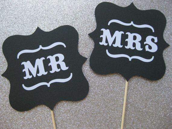 Mr and Mrs Wedding Signs  Photo Booth Props by TheManicMoose, $15.00
