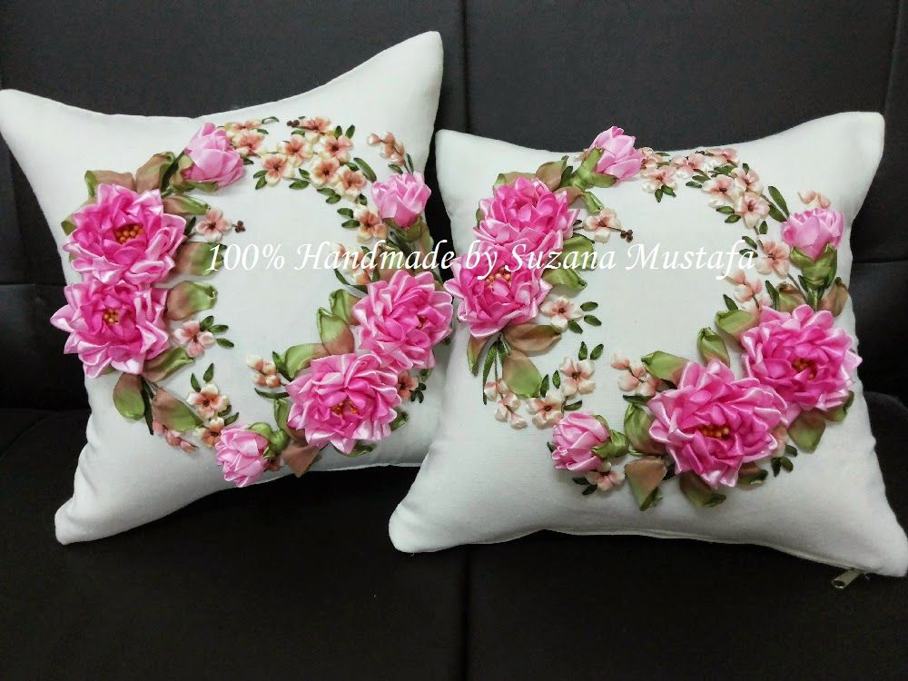 31fe73acee My 100% handmade Ribbon Embroidery and Ribbon Work Cushion Cover FOR SALE.  Interested, please sms or whats up to 012-.