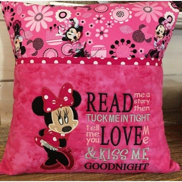 Read me a story with minnie Embroidery Design 2 Designs 3 Sizes, Reading Pillow, Pocket Pillow-INSTANT D0WNL0AD
