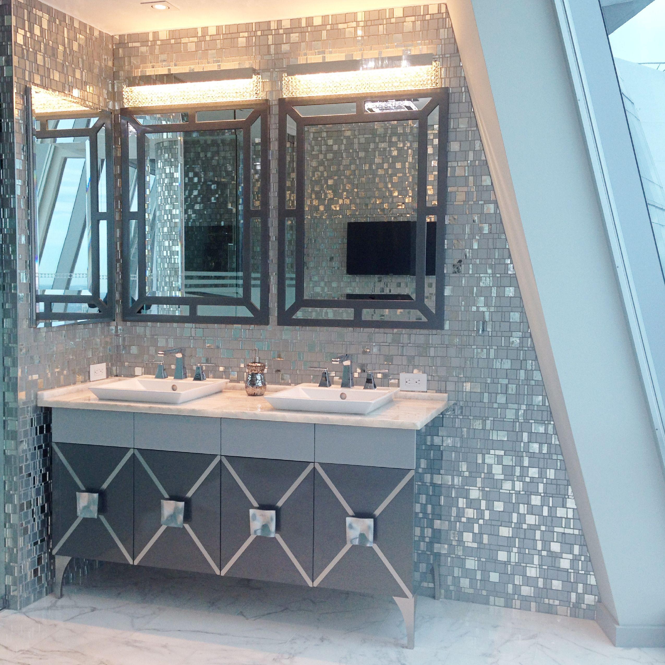 This bathroom has a mosaic tile wall called Liberty Diamond. | Trend ...