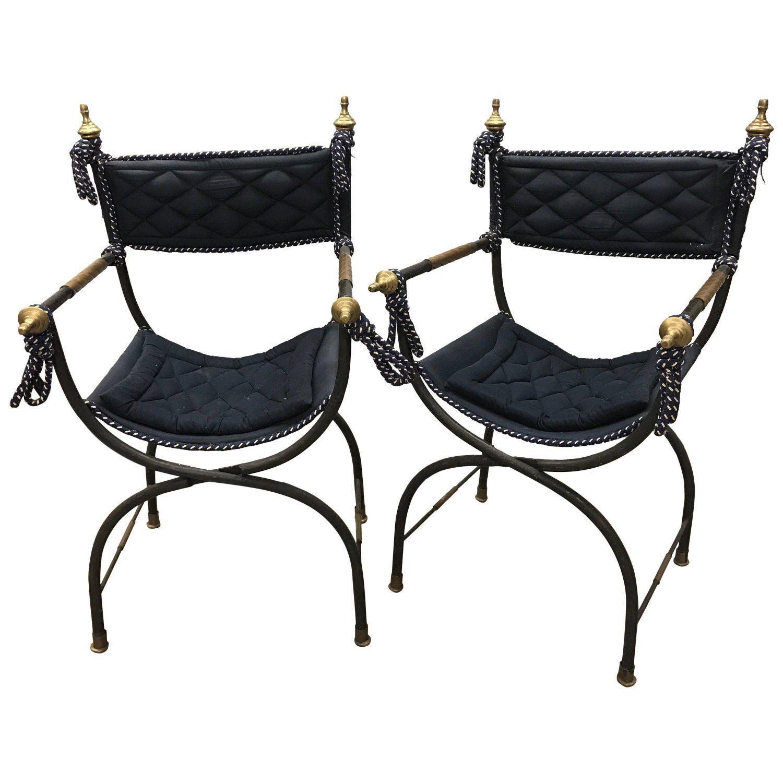 Pair of Italian Savonarola Campaign Folding Chairs Maison Jansen