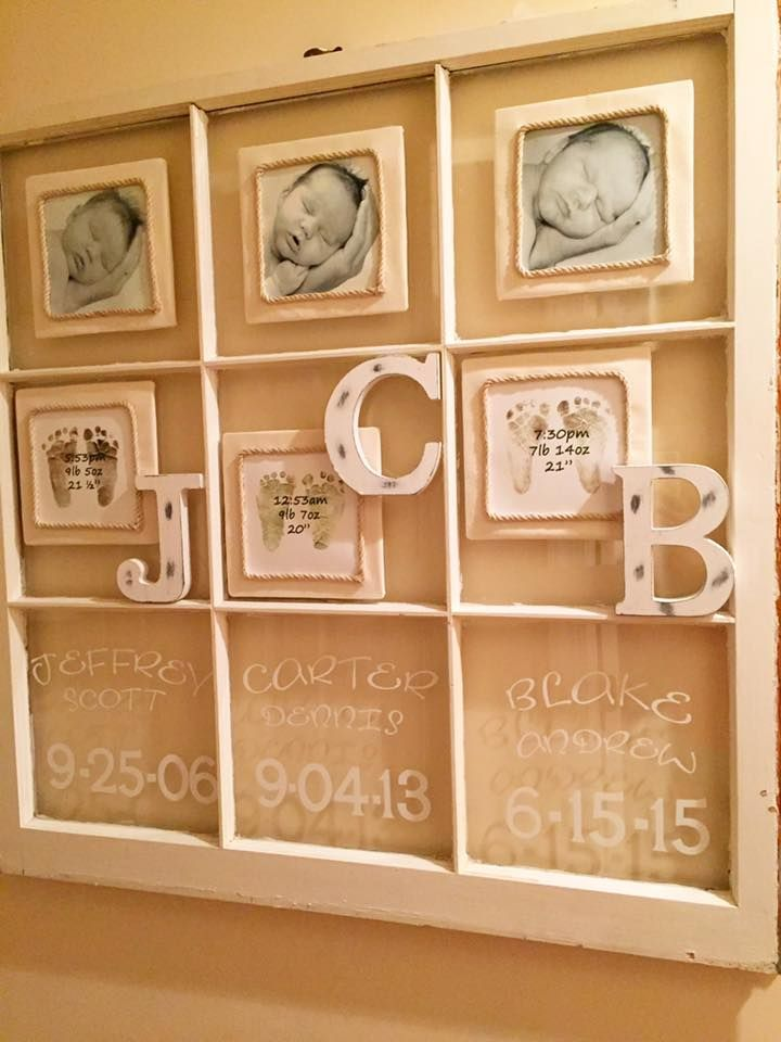 Rustic Window Panel Infant Photo Collage In These 6x6 Pics Each Baby Is 9 Days Old In The Palm Of His Daddy S Hand N Window Crafts Old Window Projects Crafts