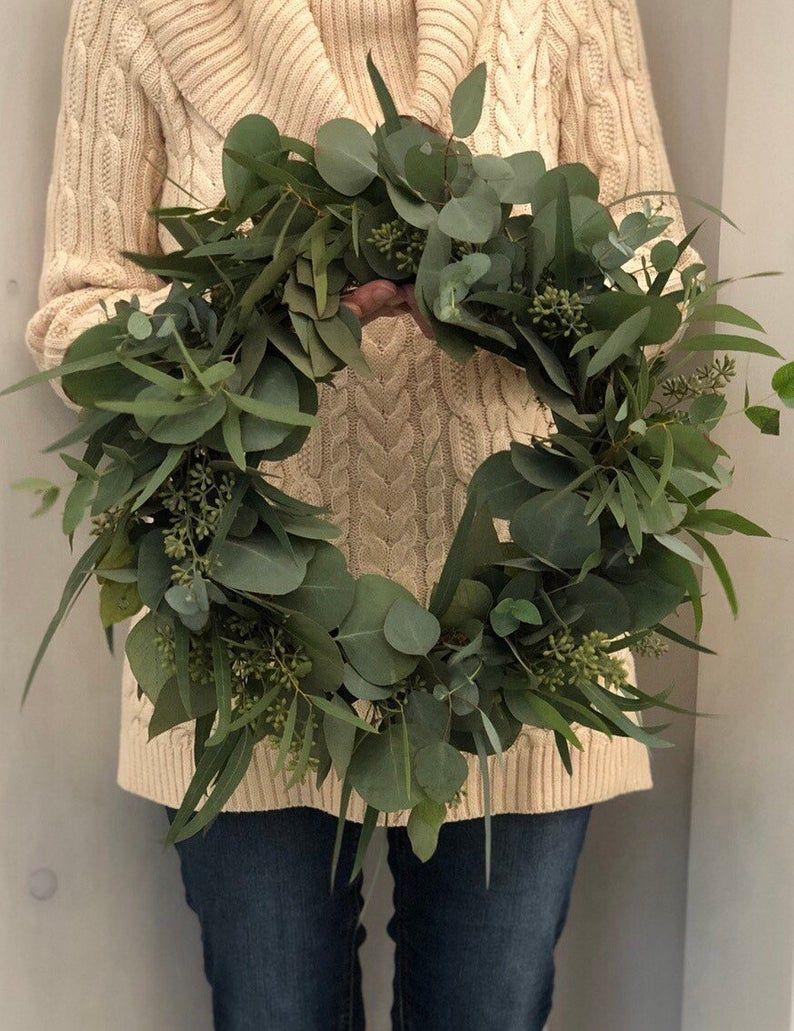 Photo of Fresh eucalyptus wreath, sown eucalyptus wreath, silver dollar wreath, DIY wedding, fresh green wedding decorations