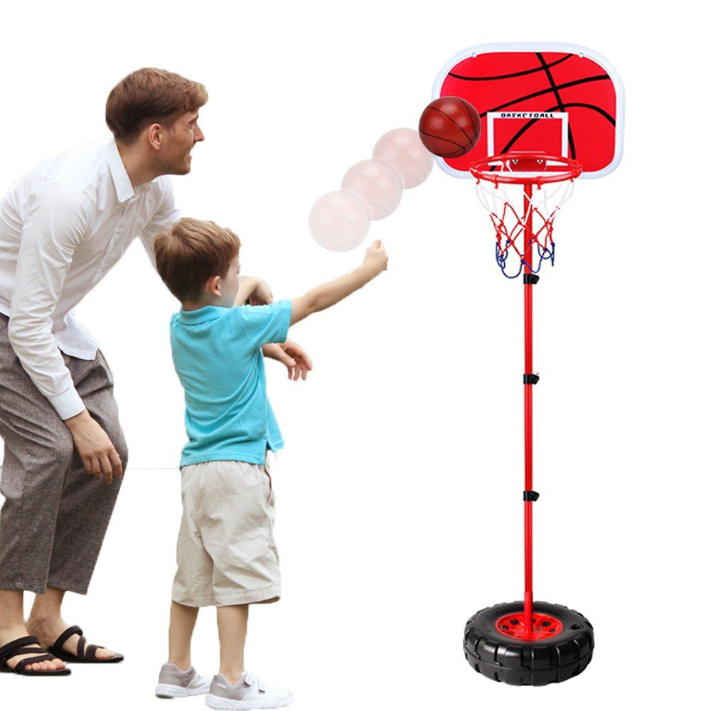 Height Adjustable Protable Basketball Set Happytime Kids Basketball Adjust Hoop And Pump Basketball Set Ind Kids Basketball Basketball Indoor Basketball Hoop