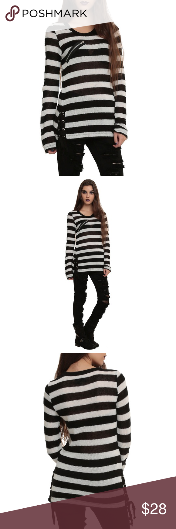 ♤️ROYAL BONES Grommeted STRIPED Tunic SWEATER S FEATURES ...