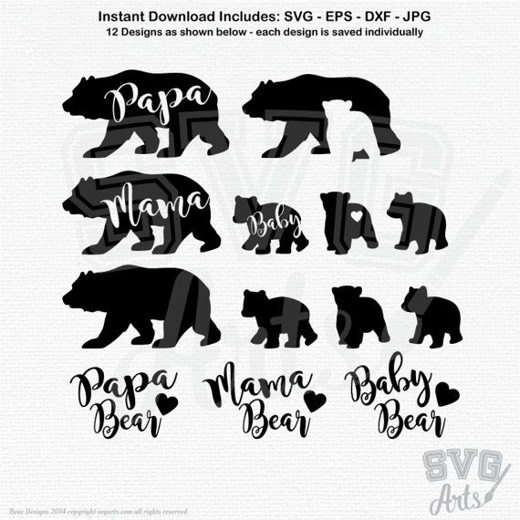 c813a1cc0 Adorable Mama, Papa, and 3 baby bear graphics plus (see display 2) Mama Bear,  Papa Bear, and Baby Bear Scripted Lettering designs.