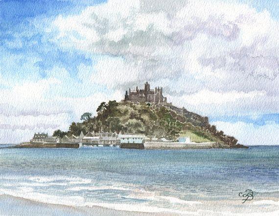 Original Aquarell Englischen Schlosses Malerei Englische