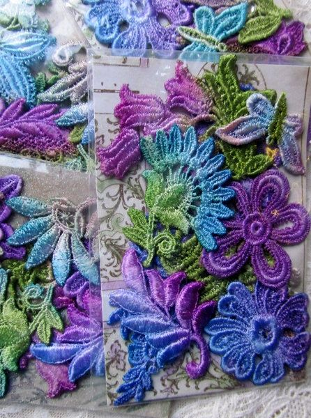 Venise Hand Dyed Lace Crazy Quilt Embellishment by RavioleeDreams