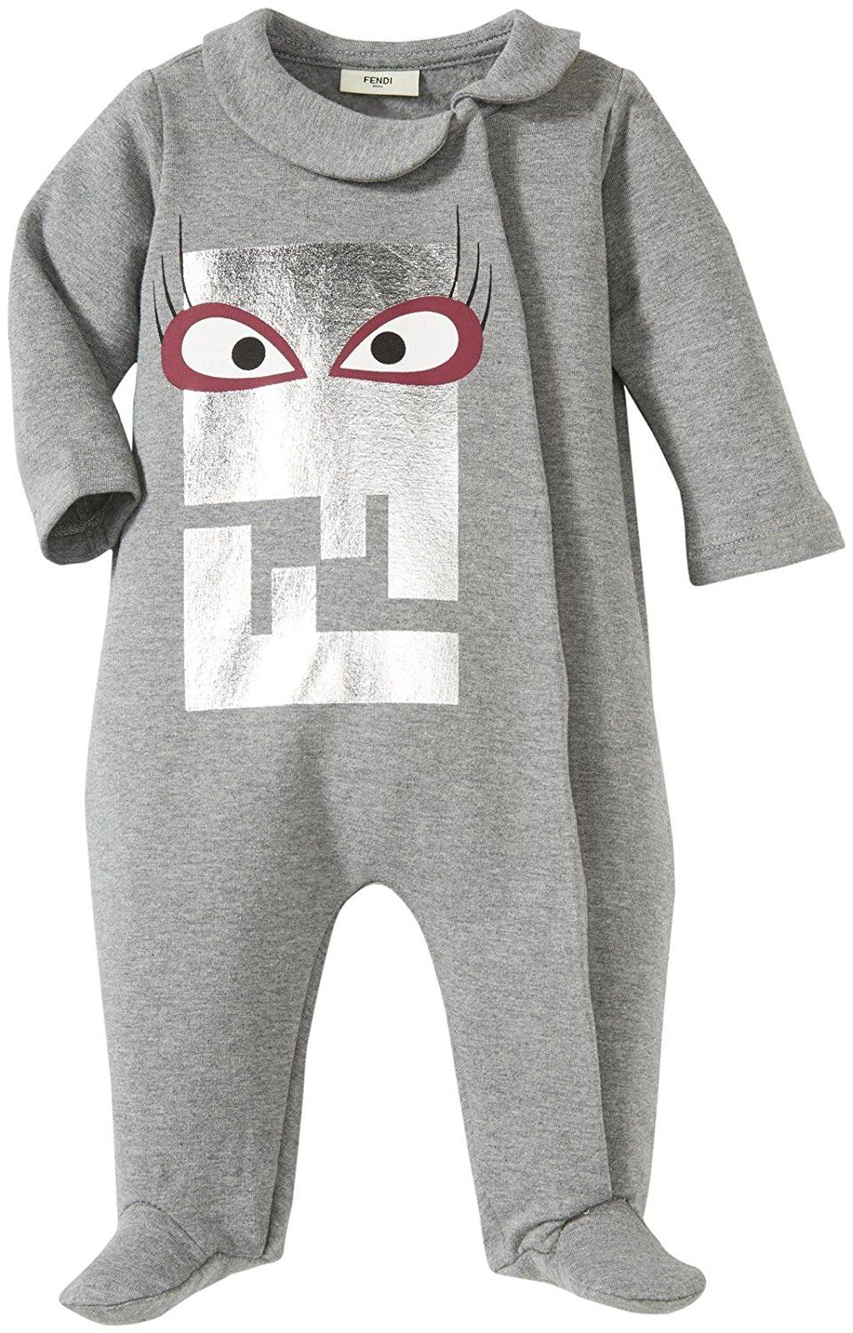Fendi Baby Girls' Coverall with Eye Logo (Baby) Gray