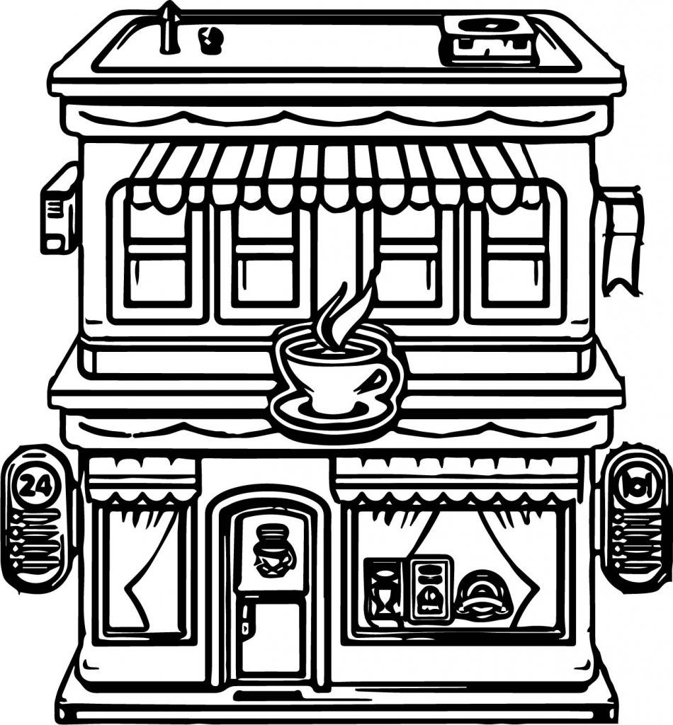 Restaurant Coloring Pages Cartoon Building Coloring Pages