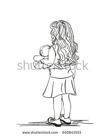Sketch of little girl with long hair holds teddy bear, View from behind, Hand drawn illustration isolated on white