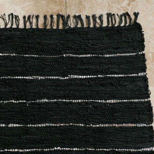 Scrap Leather Black Area Rug