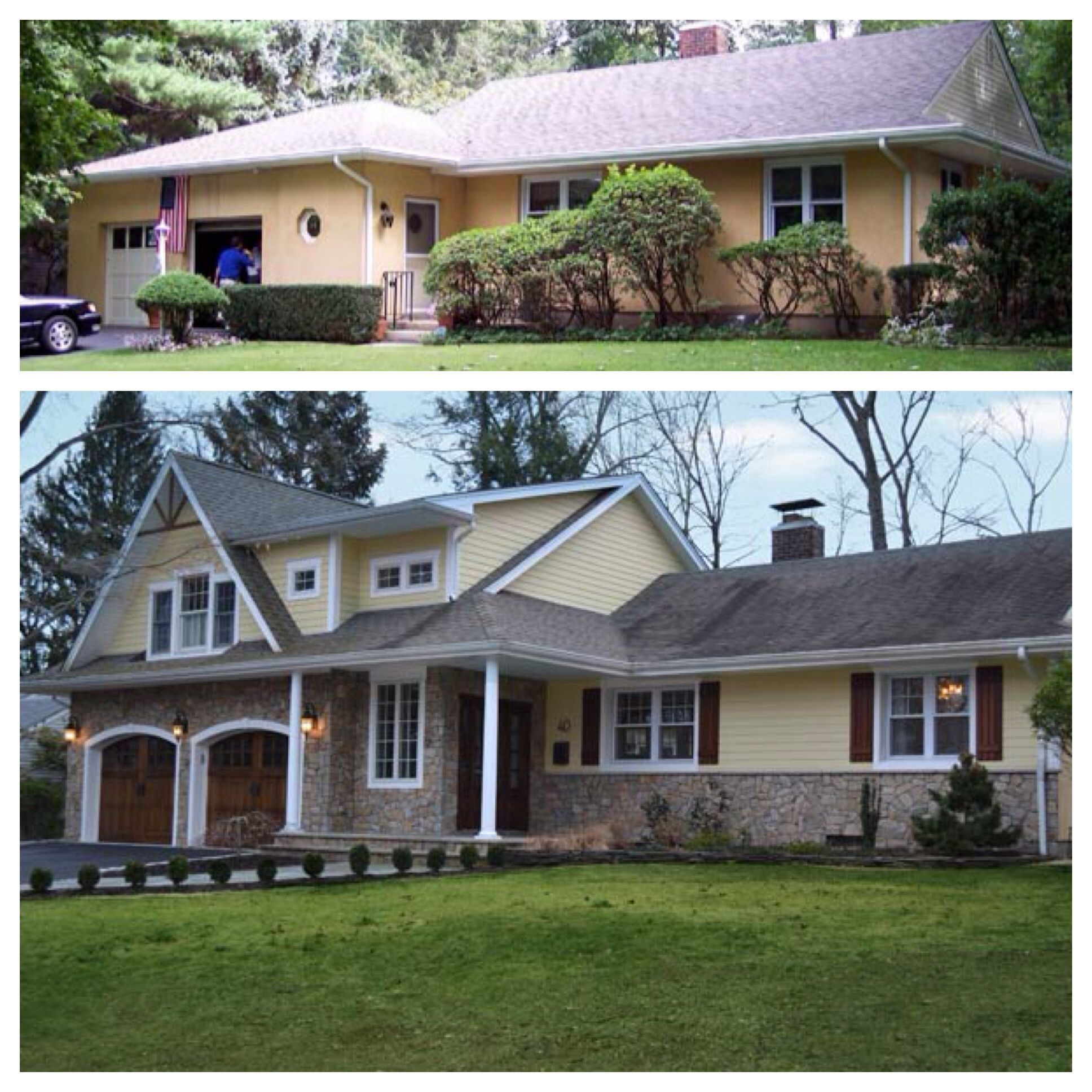 Before And After Curb Appeal Change Roofline On 1 Level House Add A 2nd Story Add Cover Exterior House Remodel Ranch House Remodel Home Exterior Makeover