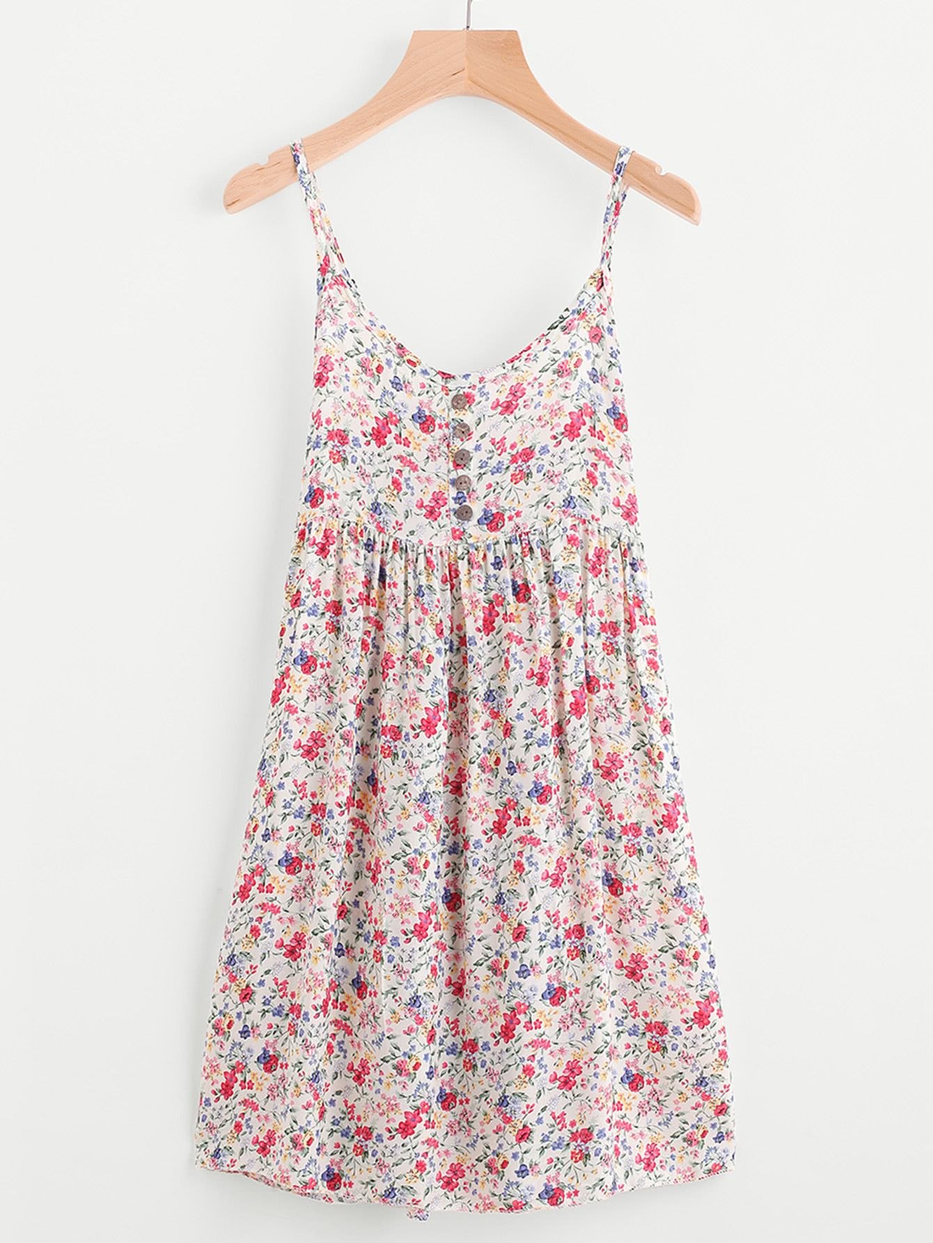 a5a0858267f41 Shop Ditsy Print Random Single Breasted Cami Dress online. SheIn offers  Ditsy Print Random Single