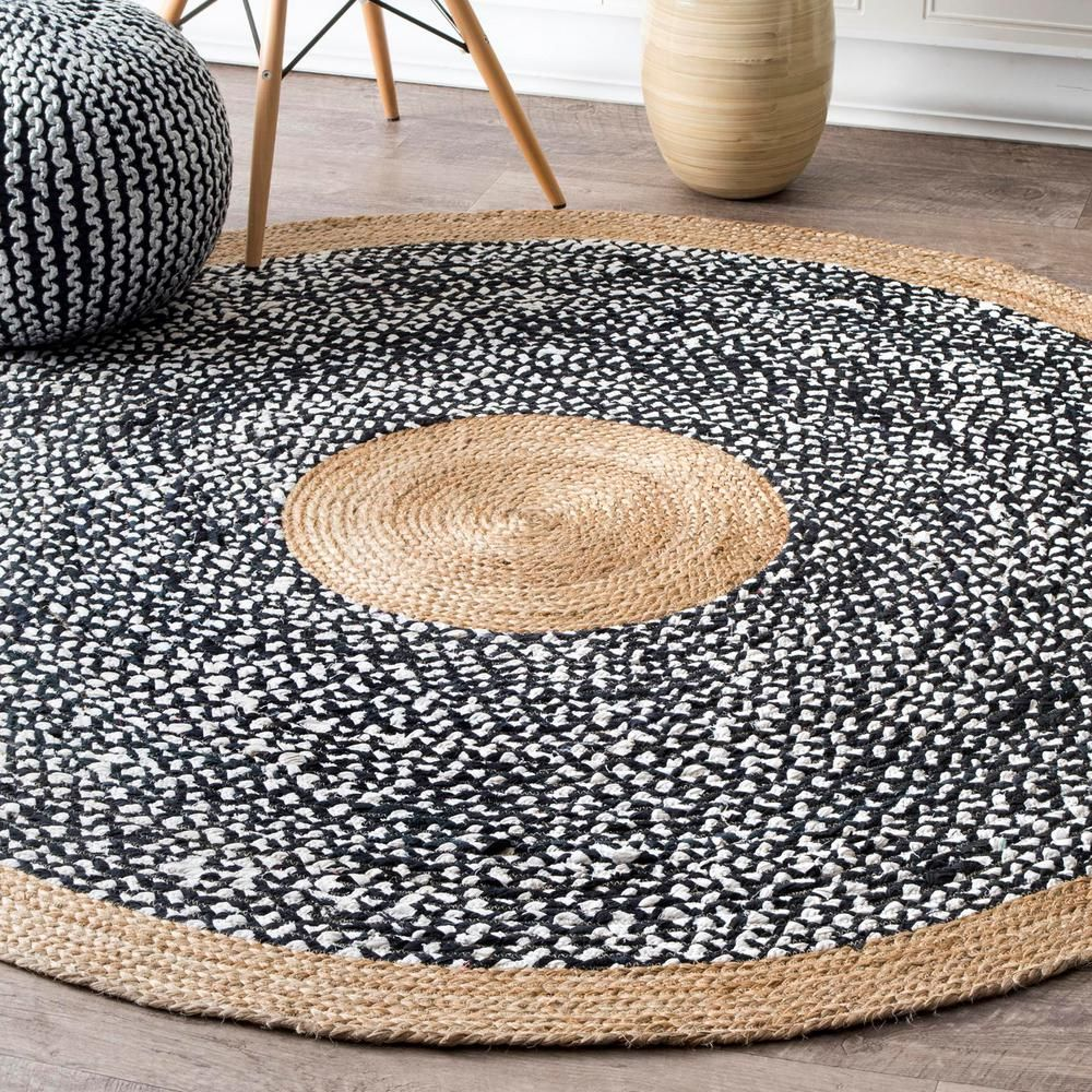 Nuloom Lesha Natural Fiber Jute Black 8 Ft X 8 Ft Round Rug Tadr06a R808 The Home Depot Natural Fiber Rugs Cool Rugs Jute Area Rugs