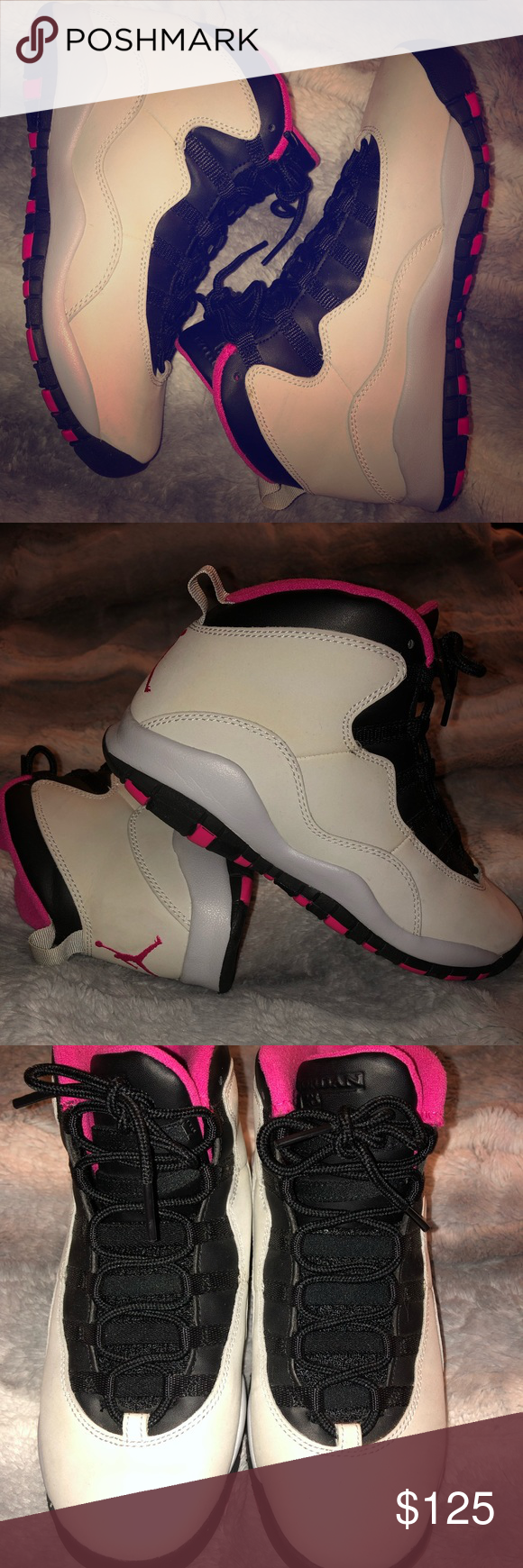 1162c437e96 Air Jordan Retro GG 'Vivid Pink' This grade-school edition of the Air  Jordan 10 Retro GG 'Vivid Pink' white leather upper with a black and Vivid  Pink ...