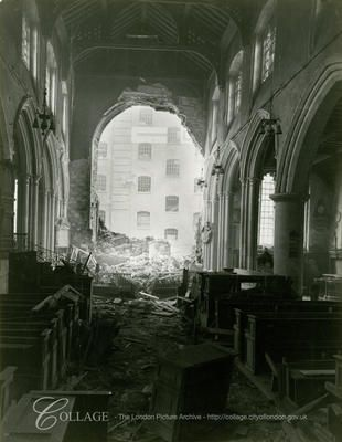 Interior view of All Hallows, Barking showing damage sustained by a high explosive bomb during WW2.