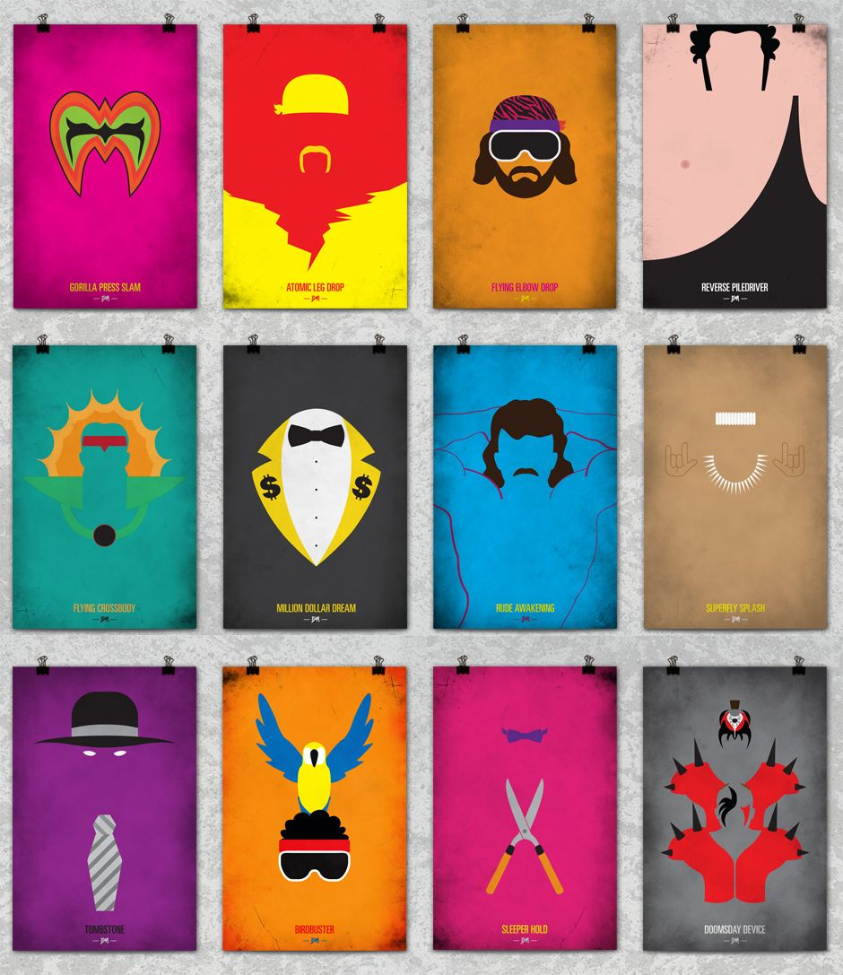 90s poster design - Minimalistic Wrestling Posters