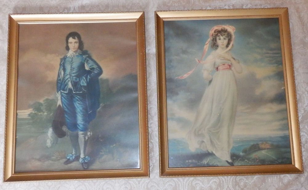 Pair Of Large 20 X 16 Vintage Framed Pinkie Blue Boy Antique