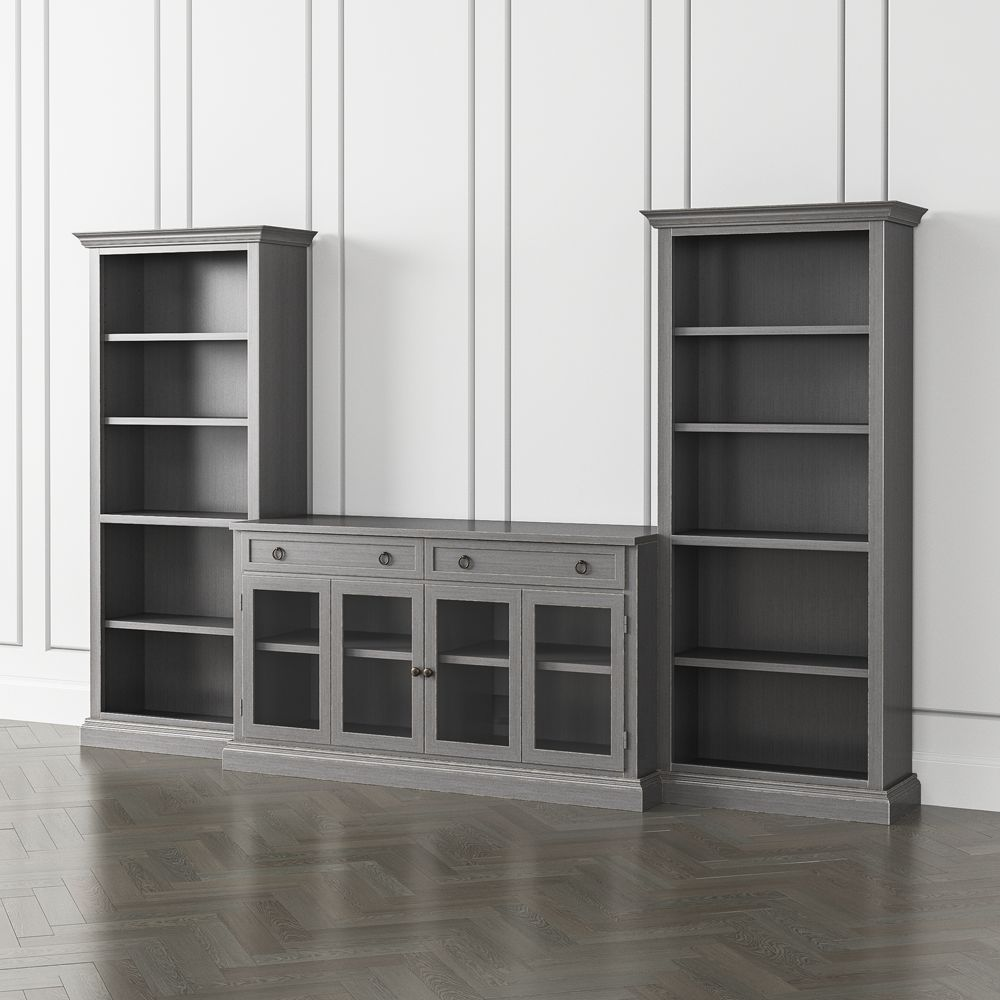 Cameo grigio 3 piece glass door entertainment center with open bookcases