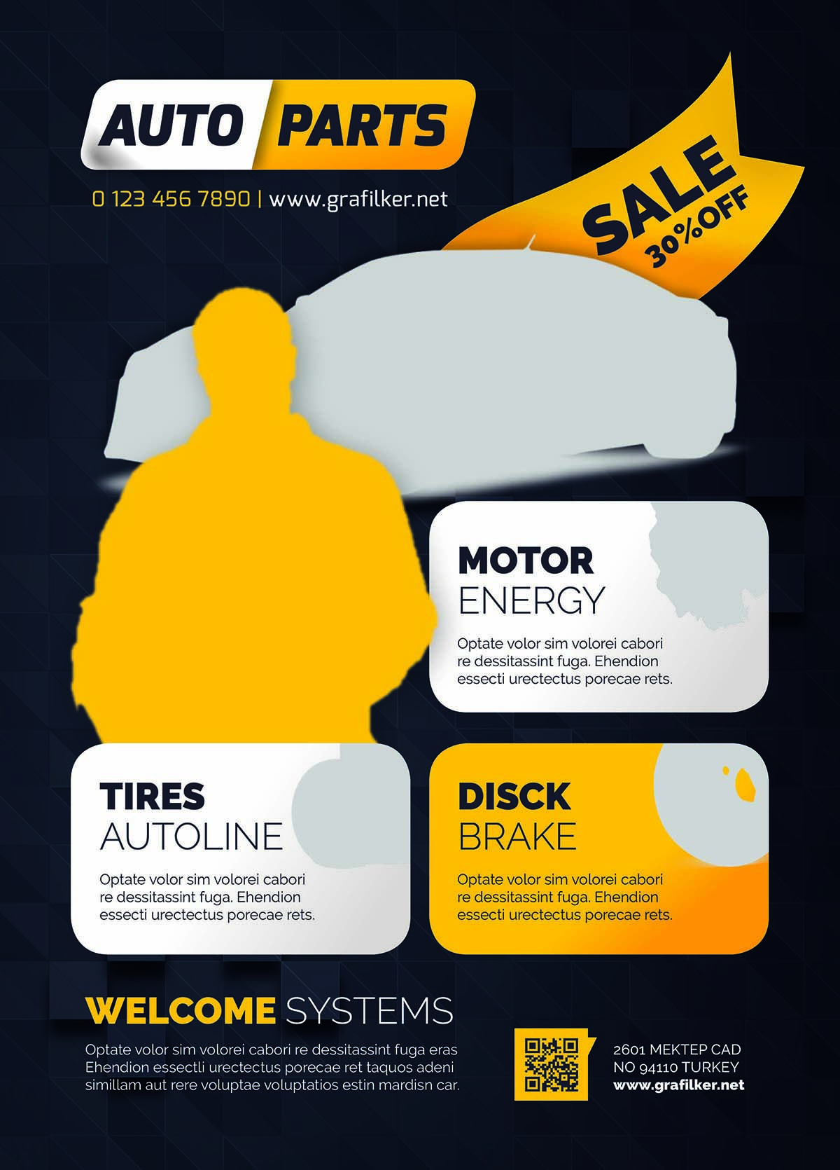 auto spare parts flyer design free vectors cards and illustrations