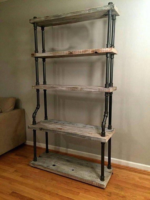 Heavy Duty Steel Pipe Shelves 6-1/2 ft tall Industrial Style | Etsy #vintageindustrialfurniture