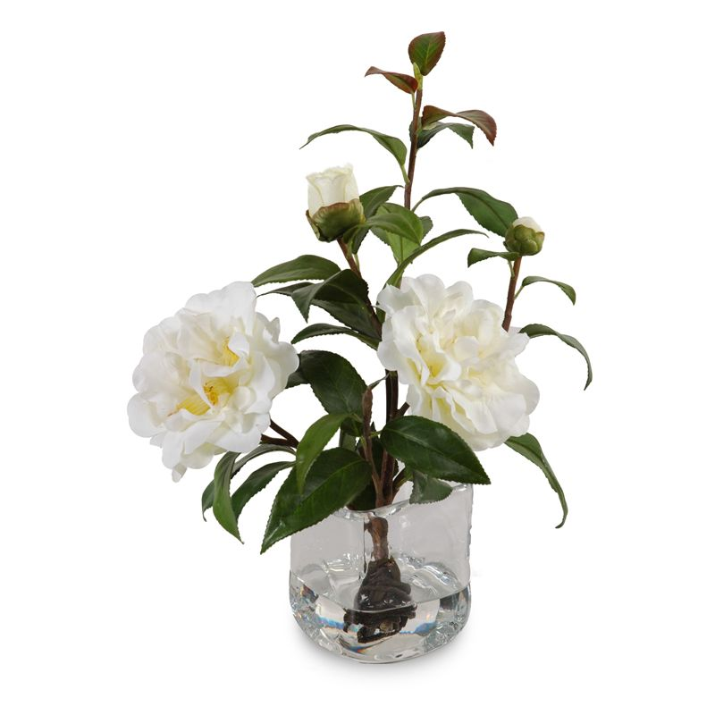 Artificial Camellia Flower Cuttings With Realistic Flowers Buds And Leaves Rest In Clear Acrylic Wate Faux Floral Arrangement Faux Flowers Flower Arrangements