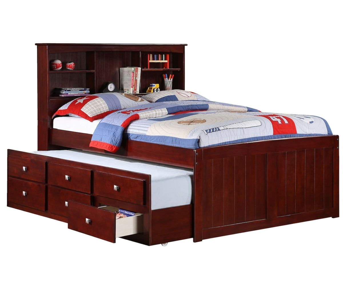 and trundle full drawers storage with captains size underneath bed