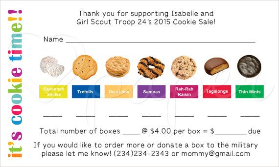 girl scout cookie order receipt thank you card reorder