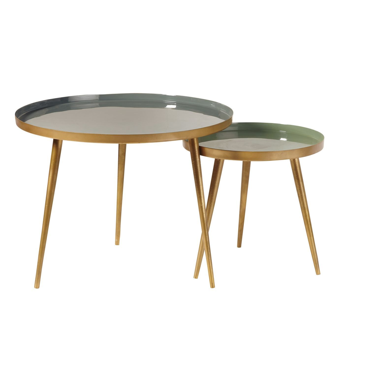 Nest Of Tables In Green And Gold Metal Avril On Maisons Du Monde Take Your Pick From Our Furniture And A Tables Gigognes Table Basse Gigogne Table Basse Metal