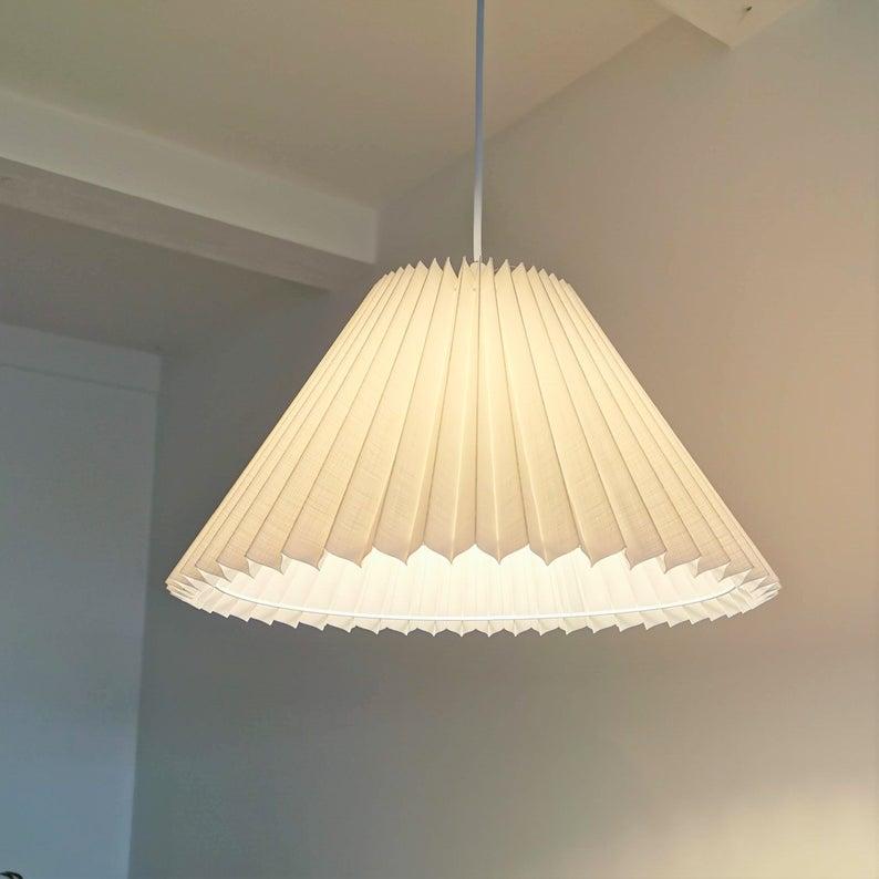 Danish Designed Pendant Ceiling Light With White Linen Knife