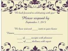 Wedding Rsvp Card We Have Reserved Seats In Your Honor Google Search
