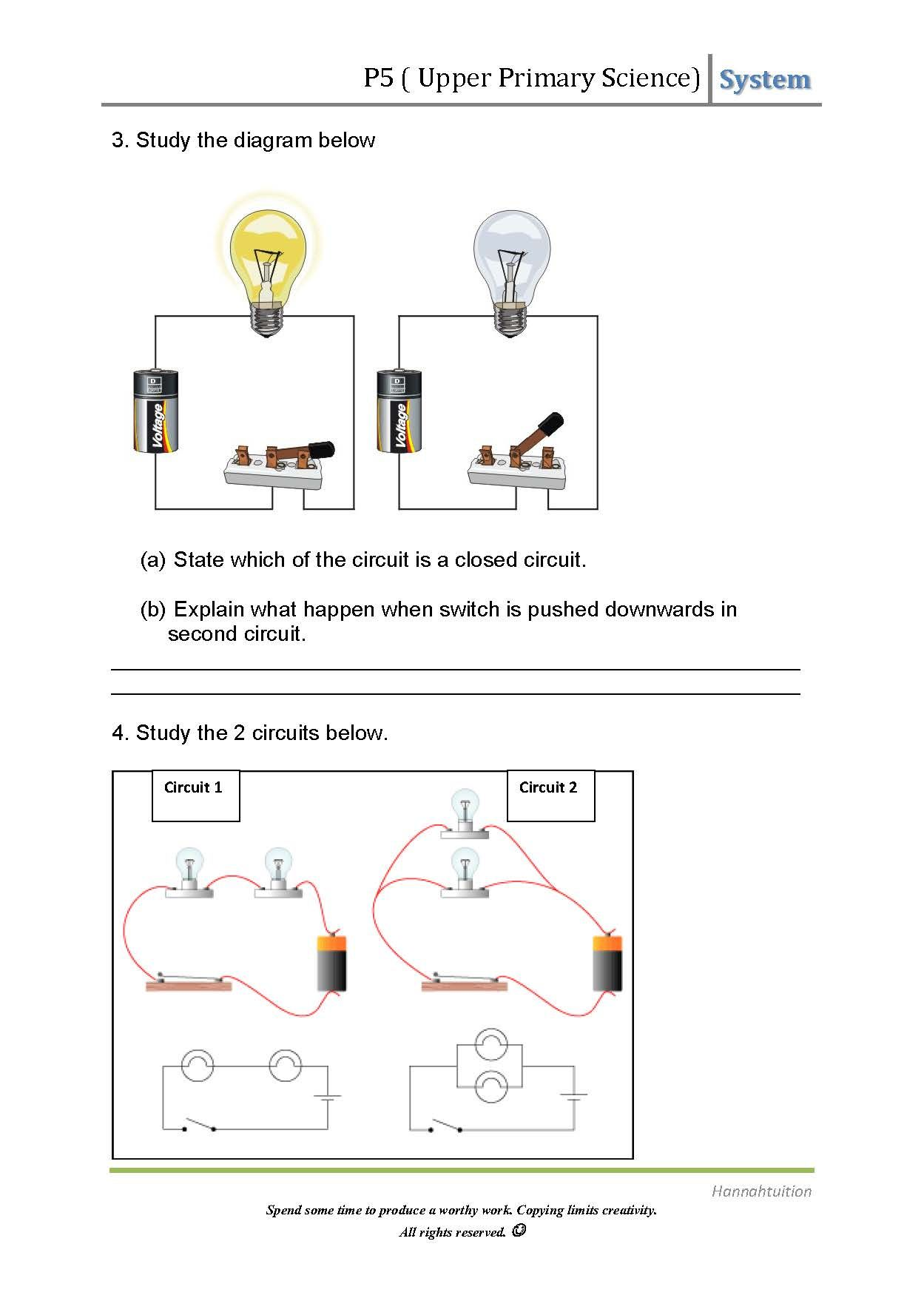 P5 Electricity Page 2 Electricity Lessons Worksheets For Kids Electric Circuit