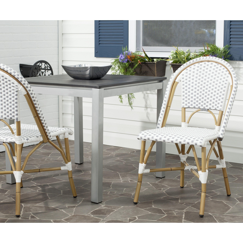 Safavieh Rural Woven Dining Salcha Grey/ Indoor Outdoor Stackable Dining Chairs