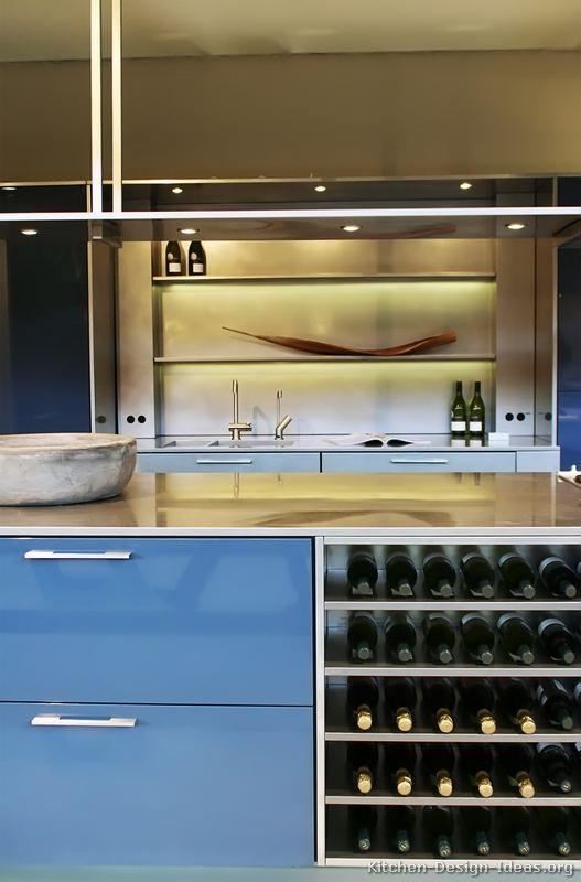 Sleek Modern Blue Shiny Cabinets Metal Silver Open Wine Storage Kitchen Cabinet Interior Best Kitchen Cabinets Kitchen Cabinets Pictures