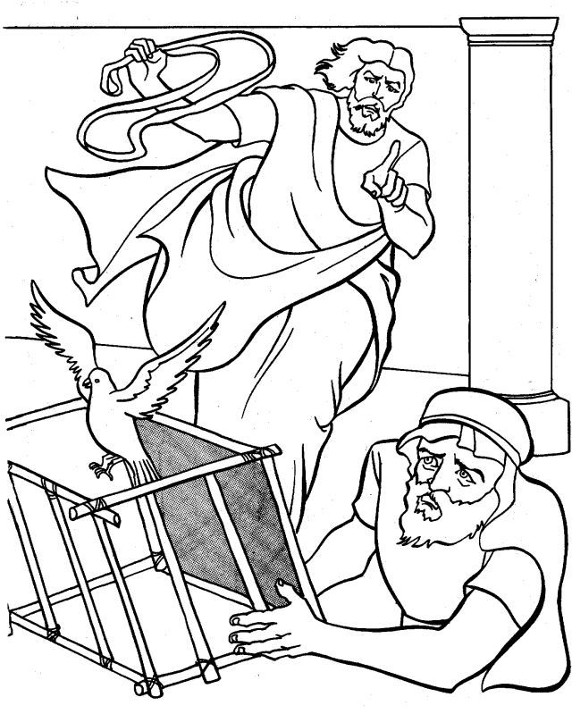 Jesus Cleanses Temple Coloring Page