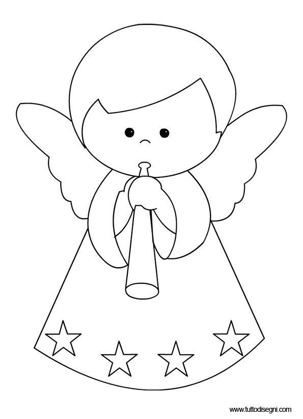 Disegni Da Colorare Angeli Di Natale.Angelo Suona2 Ricami Natalizi Motivi Ricamati Fantasie Natalizie