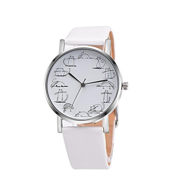 Lovely Cartoon Cat - Quartz Wrist Watch with Leather Band