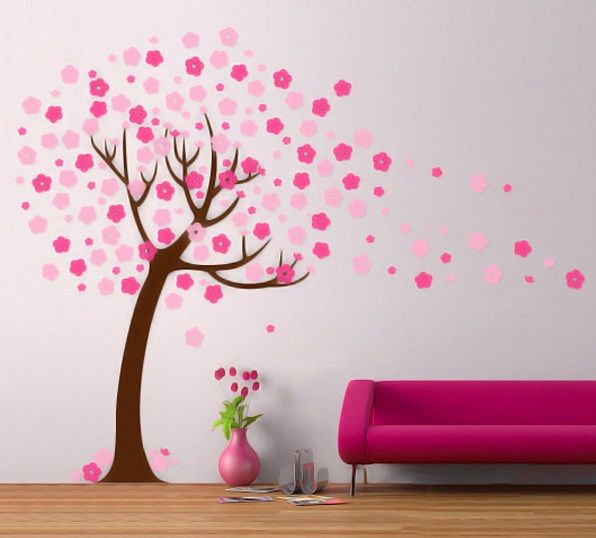 Attractive Handmade Wall Design For Decoration Ideas Cherry Blossom Tree Wall Decal Modern Handmade Wall Design Diy Wall Painting Wall Painting Decal Wall Art