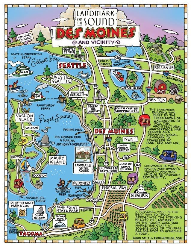 The Cartoon Map Capital Of The World Fun Maps Usa Des Moines Pictorial Maps Seatac