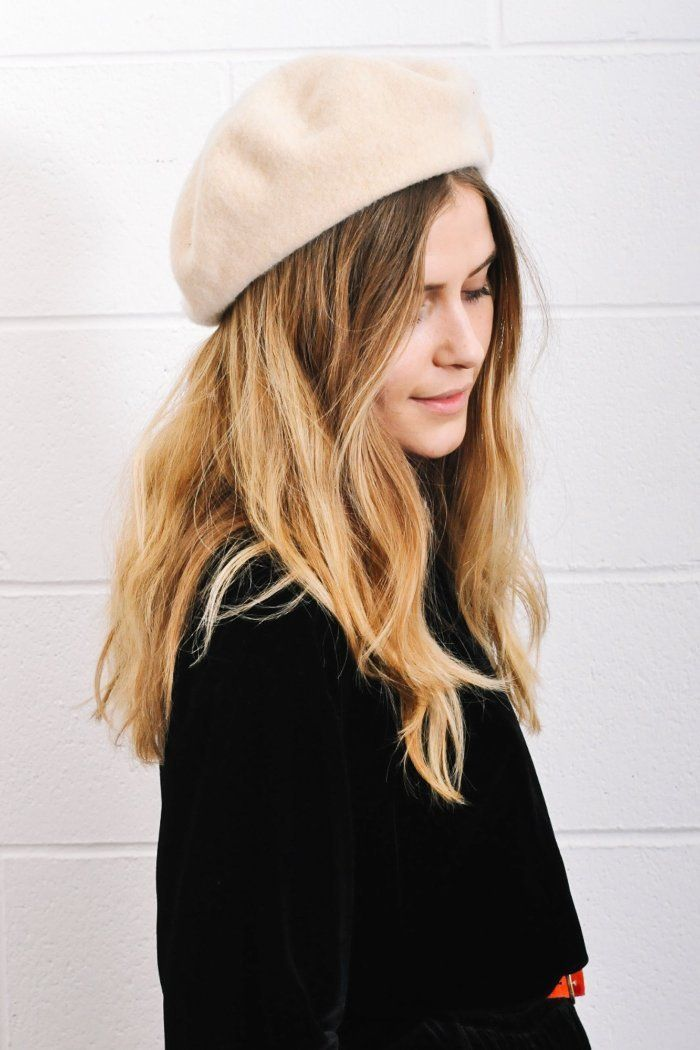 0906b46a Wool beret hat in light nude color. Available in black, grey, nude, camel  and red. 100% wool. PIPE AND ROW