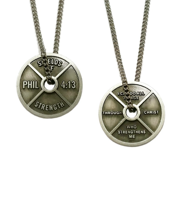 Women/'s Antique Finish High Relief Weight Plate Necklace-Phil 4:13
