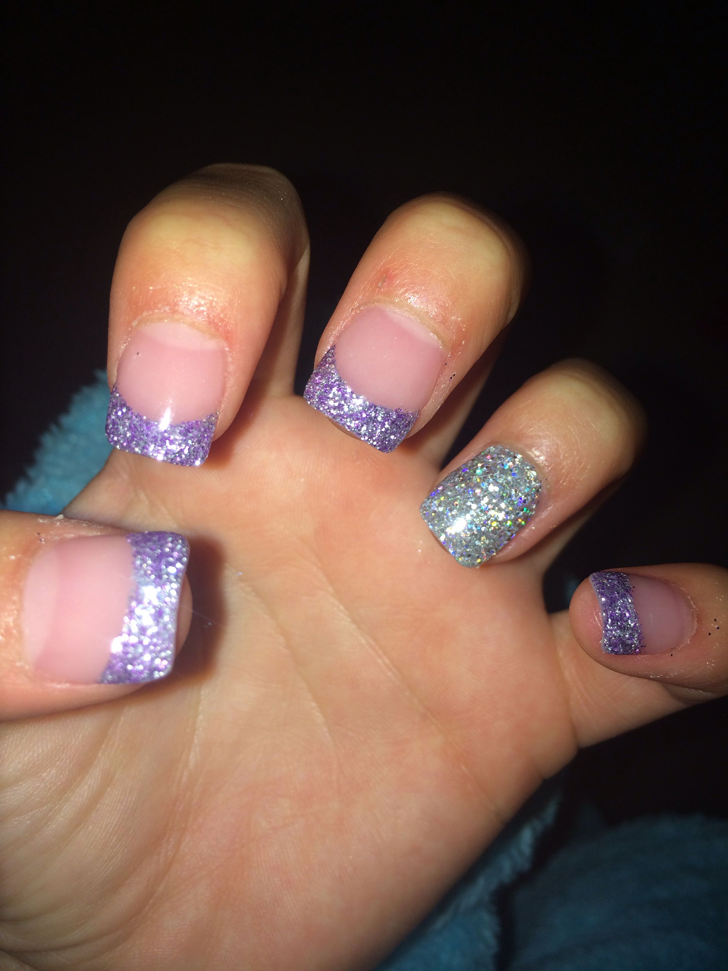 Purple And Silver Glitter Acrylic Nails Awesome Choice For Prom Or Any Fun Party