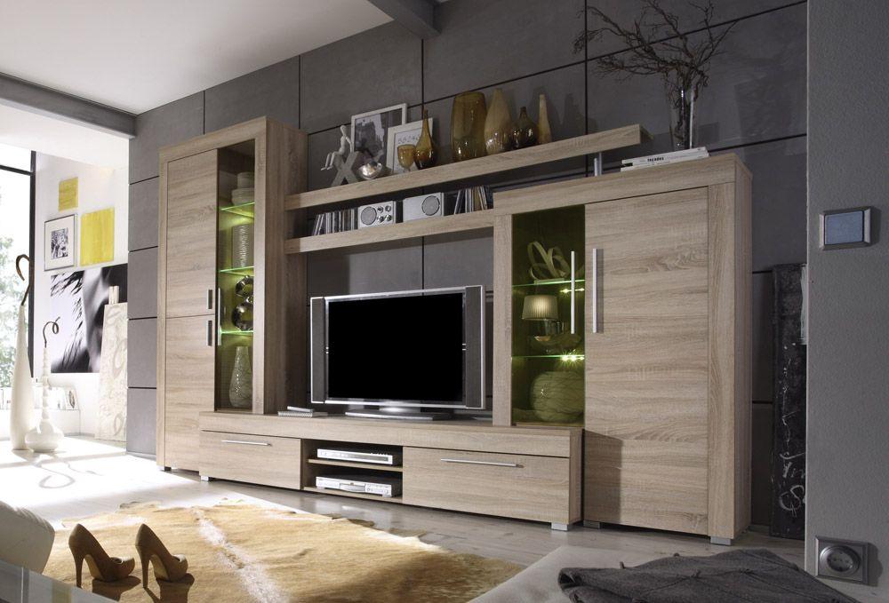 Wohnwand Anbauwand Schrankwand Wohnzimmer Thomson Eiche Ebay