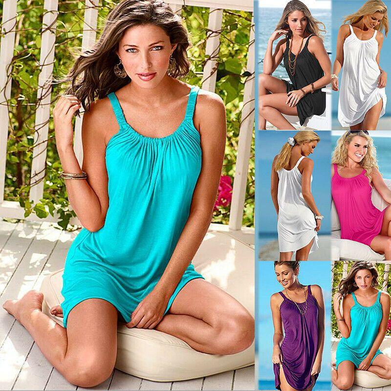 Damen Boho Strandkleid Tunika Sommerkleid Minikleid Badekleid Bikini Vertuschung
