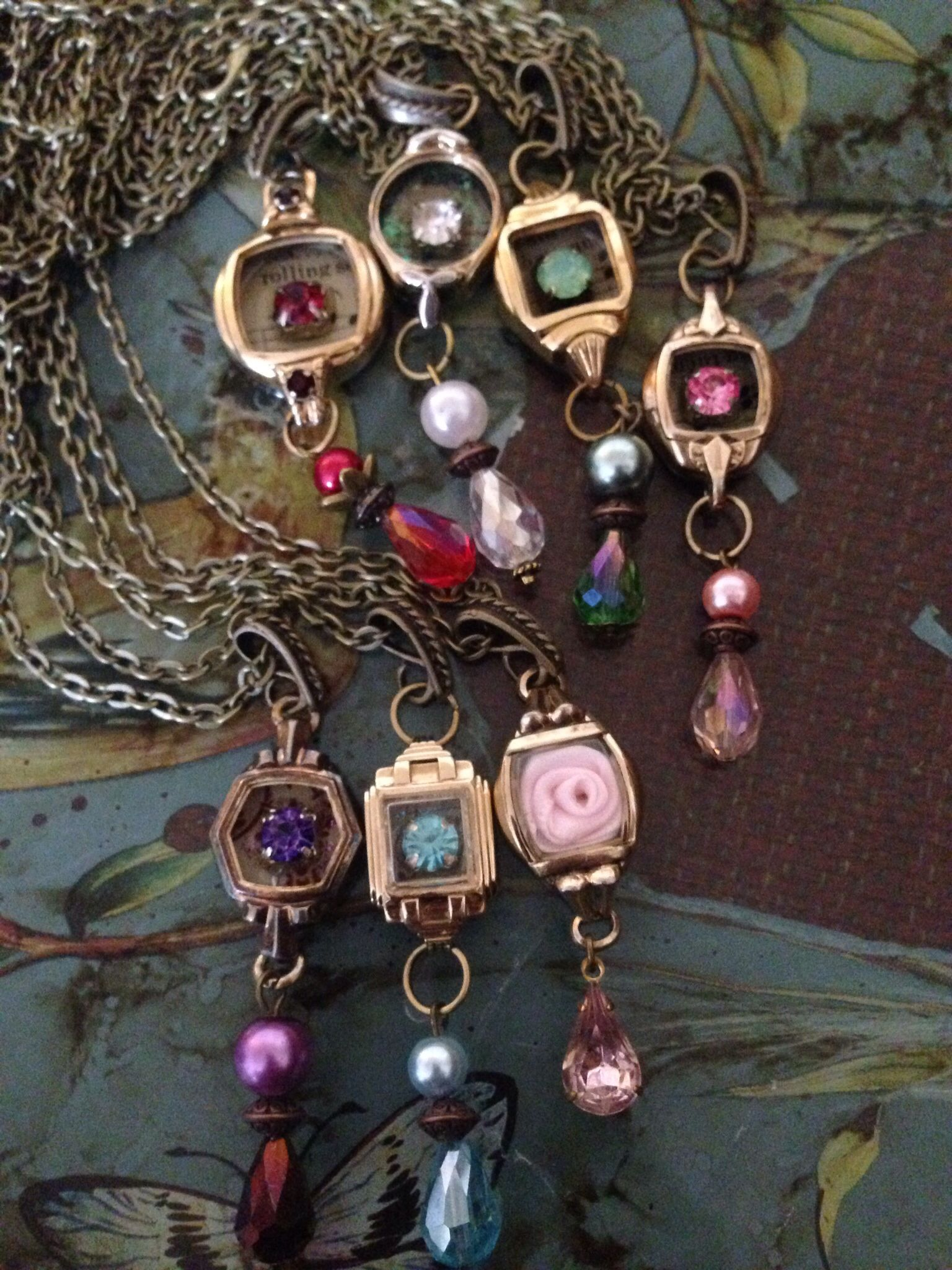 Repurposed watch cases in a rainbow of colors. ~my rogue heart