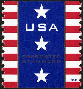 This Presort Standard Rate Patriotic Banner Stamp Allows
